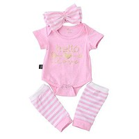 autumn baby girl clothes set Baby Girl Romper+Stripe Leg Warmers Outfits Set Clothes