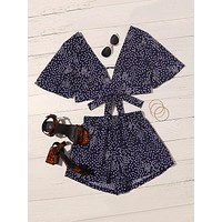 Polka Dot Print Tie Front Top & Shorts Set