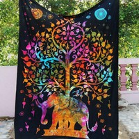 Tree of Life Psychedelic Wall Hanging Elephant Tapestry