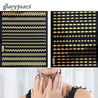 12 Gold Design 1pc Nail DIY Metallic Decal Nail Sticker Polka Dot Line Strip Form Women Manicures Nail Art Tool Nail Sticker New