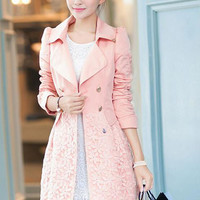 Long Sleeve Notched Collar Floral Lace Trench Coat