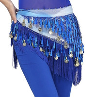 Hip Scarf Chiffon Coins Tassels Sequins Triangle Skirt Belly Dance Costume SM6