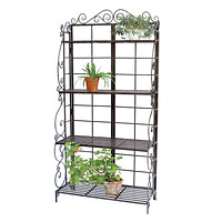 Sturdy Metal Bakers Rack Plant Stand in Brushed Bronze Black