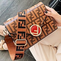 Fendi Fashion New More Letter Leather Shoulder Bag Crossbody Bag Handbag Brown