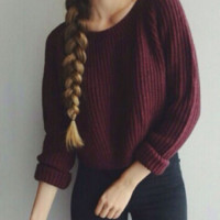 Fashion Classic Boat Neck Pullover Long-sleeved Knit Red Wine Sweater
