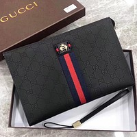 GUCCI Fashion New More Letter Print Leather Cosmetic Bag File Package Handbag Black