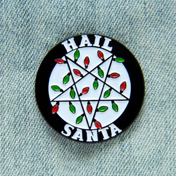 """Hail Santa"" Christmas Light Inverted Pentacle Enamel Pin"