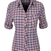LE3NO Womens Casual Cotton Plaid Pull-On Button Down Shirt (CLEARANCE)