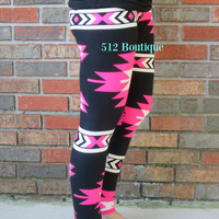 Hot Pink Aztec Leggings