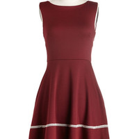 ModCloth Mid-length Sleeveless A-line Fun-day Best Dress in Bordeaux