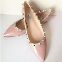Christian Louboutin Fashion Edgy Pointed Rivets Flats Shoes-1