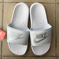 Nike couple slippers leisure beach slippers Fashion White grey Letters