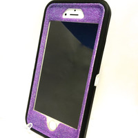iPhone 6 (4.7 inch) OtterBox Defender Series Case Glitter Cute Sparkly Bling Defender Series Custom Case  black / purple