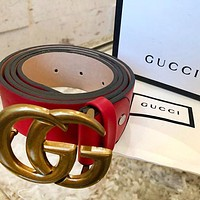 samfine2 G GUCCI Fashion Girls Boys Smooth Buckle Leather Belt Red