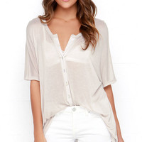 Dee Elle Just My Oversize Beige Button-Up Top