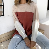 2020 fall new women's fashion all-match color matching long-sleeved sweater