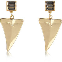 River Island Womens Gold tone rhinestone dangle tusk earrings