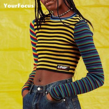 2018 fashion harajuku vintage punk unif contrast color rainbow striped multicolored cropped knit short pull femme women sweater