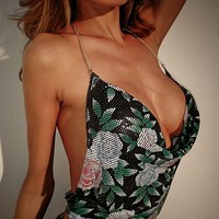Women Fashion Metal Rose Flower Print Backless Sleeveless Deep V Chain Halter Vest Crop Tops