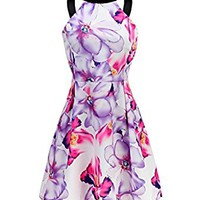 PAKULA Women's Sexy Halter Neck Flora Print Casual Short Dress