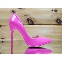 "Fabio Neon Pink Patent 4.5"" High Heel Shoes Pointy Toe Pump 6-10"