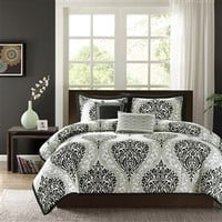 Full / Queen size 5 Piece Comforter Set with Black White Damask Print | FastFurnishings.com