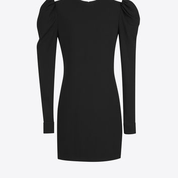 SAINT LAURENT ‎CUFFED MINI DRESS IN BLACK SABLÉ ‎ | YSL.COM