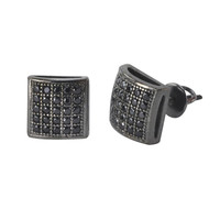 Micropave Screwback Earrings .925 Silver Black CZ Studs 8mm Lightweight Dome