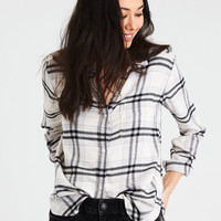 AE PLAID BOYFRIEND BUTTON-DOWN SHIRT, Cream