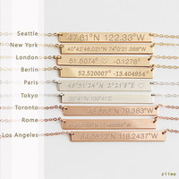 Custom Coordinates Necklace reversible, Latitude Longitude necklace, Location GPS Coordinates, Gold Filled, Silver, Rose Gold fill  z440h