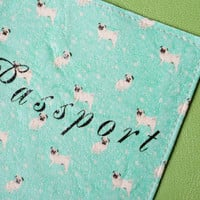 Handmade artificial leather passport cover with print Pugs with Mint