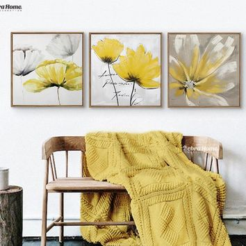 Modern Abstrct Yellow Flower Wall Art Canvas Oil Painting Poster Wall Canvas Pictures For Girls Living Room Home Decor No Frame