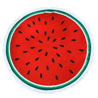 Watermelon Fruit Round Beach Towel Roundie Blanket Terry Cloth