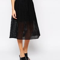 Mango Cutwork Full Midi Skirt