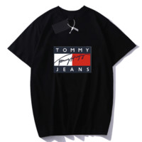 TOMMY New fashion bust letter print couple top t-shirt Black
