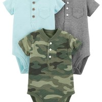 3-Pack Henley-Style Original Bodysuits