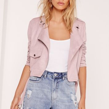 Missguided - Faux Suede Biker Jacket Lilac