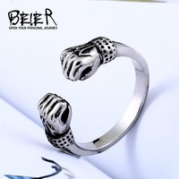 BEIER  new store Clenched his fists Symbol of strength ring Stainless Titanium Steel Punk Rock fashion for men  jewelry BR8-523