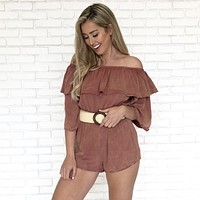 Ellis Acid Wash Romper in Apricot