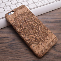 Retro Indian Flower Design Cork Phone Case For iPhone 7 7Plus 6 6s Plus