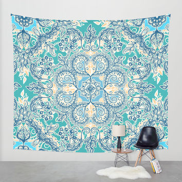 Gypsy Floral in Teal & Blue Wall Tapestry by Micklyn