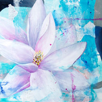 Flower Painting, Acrylic Magnolia Art, Abstract Garden Flower, White and Turquoise Wall Hanging, Flower Lover, Contemporary Home Decor