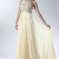 Beaded Prom Dress with Keyhole Back- Champagne