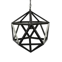 Modern Black Metal Polyhedron Pendant Lamp  Ceiling Light