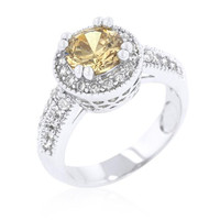 Champagne Halo Engagement Ring, size : 06