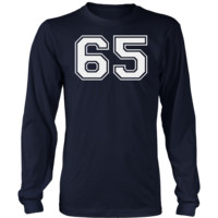 Men's Vintage Sports Jersey Number 65 Long Sleeve T-Shirt for Fan or Player #65