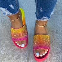 Summer Woman Leisure Rainbow Diamond Thick Soles Sandals Slippers Shoes