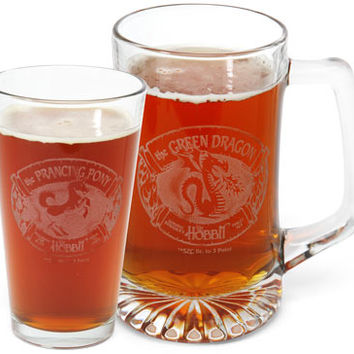 Lord of the Rings Etched Bar-Ware - Green Dragon Pint Glass 2 Pk