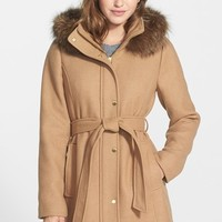 Women's Ellen Tracy Hooded Wool Blend Coat with Genuine Fox Fur Trim ,