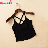 Mileegirl Women Tank Crop Tops,Casual Bustier Strap Cross Halter Sleeveless Summer Short Top Tees,New 7 Colors Modal Vest Camis